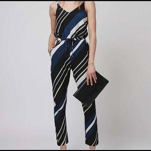 Topshop Size 6 Diagonal Stripe Blue Jumpsuit